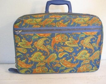 40% off SALE-use coupon code Discount40 at checkout-Vintage Bright Blue Paisley Woven Suitcase, Carryon, Overnight Bag- Made in Japan