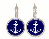 Glass Dome Earrings, Anchor Earrings, Preppy Jewelry, Drop Style Earrings, Nautical Gift, Sorority Gift, Gift Under 10  (Navy Anchors)
