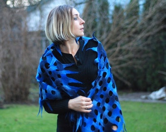 Felted cobweb scarf wrap shawl blue from handpainted Merino wool HANDMADE TO ORDER