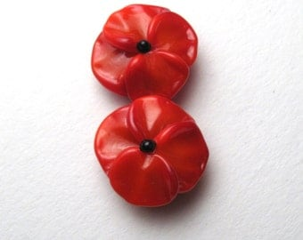 Memorial Day Poppies for Remembrance Day, Veterans Day, Flanders Poppy, Handmade Glass Flower bead pair