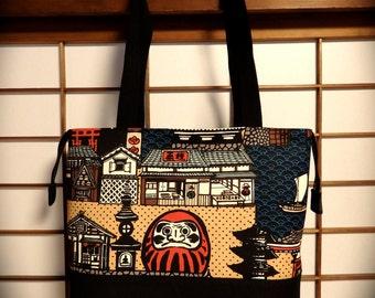 Daruma Canvas Tote Bag with Metal Zipper Top Closure, Castle, Pagoda, Kaminarimon, Kokeshi, Daruma, Sailboat, Ocean, Red White Blue Black