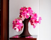 It's a girl Pink weeping willow Felt Tree ornament Soft sculpture Home decor Kids Room Decoration