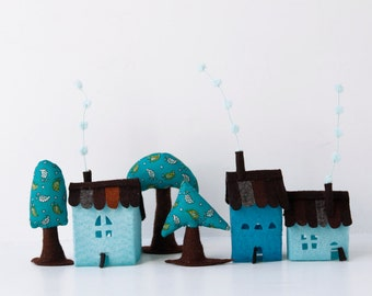 Miniature houses decoration, Turquoise Houses with trees, Room Decor, Children decorations, Housewarming gift