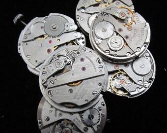 Vintage Antique Round Watch Movements Steampunk Altered Art Assemblage A 38