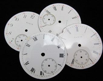 Steampunk Watch Dials Vintage Antique Faces Parts Enamel Porcelain Metal Mixed Media   WC 16
