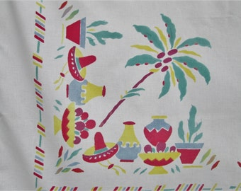 Vintage Tablecloth Mexican Fiesta Kitchen Linens Table Cloth