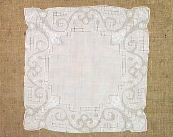 Antique Handkerchief Hankie Bridal Mosaic Lace and Embroidered Linen