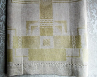 Vintage Damask Towel Yellow Bath Tea Hand Towel Art Deco MINT