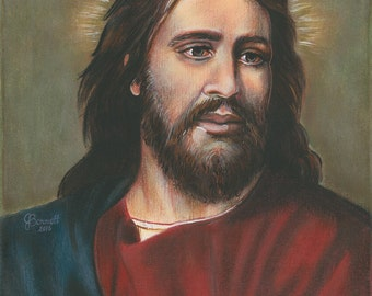 """Our Lord Jesus, King of Kings, Savior, 8""""x10"""" & 11""""x14"""" Prints on White Card Stock from my Signed, Acrylic Painting , Catholic Art,"""
