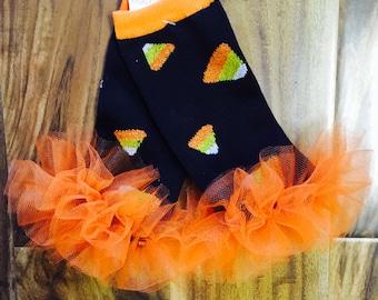 Orange Candy corn ruffle tutu leg warmers, Tutu Leggings, Perfect for your little pumpkin, Halloween costume, party, photos