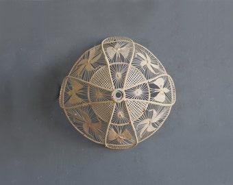 Handmade Macrame Straw Grass Basket Weaving Fiber String Lamp Shade