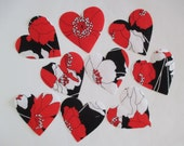 9 Red Hearts Iron On Applique