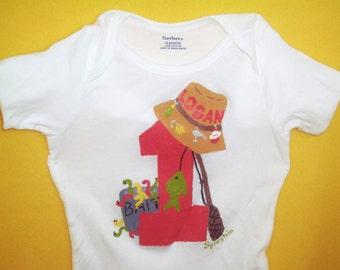 Fishing Birthday Bodysuit or Shirt, Boys Fishing Shirt, Birthday Bodysuit, Fishing Bodysuit, Boys Birthday Shirt, Boys Fish Shirt