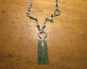 Handmade Sterling Silver Chain with Large Wyoming Jade Necklace