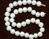 Vintage Opalescent Beads 6mm Glass Milky White & Fiery Japan 36 Pcs.