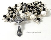 Irish Marble Rosary Beads Kilkeny Marble Black Blessed Mother Mary Sterling Silver Wire Wrapped Unbreakable Prayer Beads
