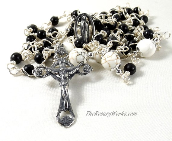 Black Marble Rosary Beads Blessed Mother Mary Sterling Silver