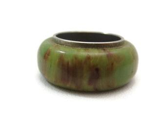 Bakelite Ring - Green Marbled, Spinach, Wide Band, Vintage Bakelite Jewelry