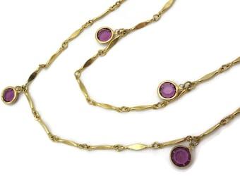Glass Gem Necklace - Vintage Bezel Set Amethyst Purple Stones