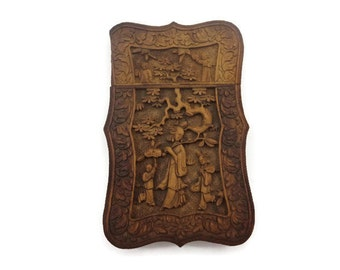 Antique Chinese Carved Wood Card Case