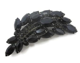 Black Rhinestone Brooch - Juliana Style, Costume Jewelry