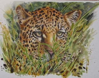 I See You - Original Watercolour Painting of a Leopard