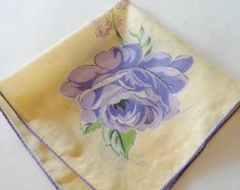 Vintage Yellow Floral Handkerchief