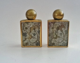 Vintage Collectable Brass Covered Perfume Bottles