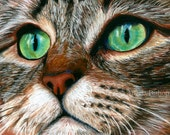 Tabby Cat Painting Print, Cat Print, Art Print, Reproduction, Cat, Pet, Portrait, 5 x 7, Realism, Giclee, Pastel, Painting, Fine Art