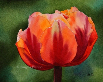 Flower Watercolor Painting, Flower Painting, Sunset, Petals, Pink, Red, Fine Art, Realism, Original Painting, Pretty, Tulip
