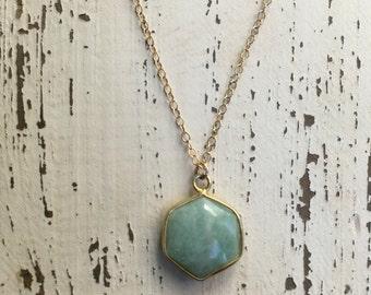Aquamarine Charm Necklace