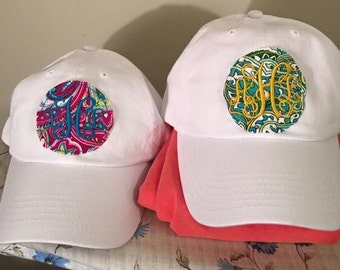 Monogrammed preppy frayed patch ball cap