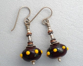 Summer Sale Lamp Work Earrings Brown Glass with Orange Raised Dots .