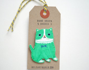 Lime green Cat - hand drawn brooch