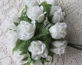 Fabric Millinery Flowers From Austria 12 White Rose Buds #A40