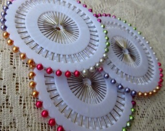120 Pearly Sewing Pins Rosette Colorful ~ 3 Rosettes