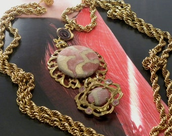 "FORTUNY Fabric Red Gold Baroque Assemblage Flapper NECKLACE Double Pendant 53"" Heavy Miriam Haskell RGP Rope Chain & Filagree Elements ooak!"