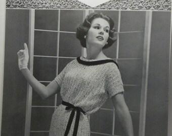 Vintage Original 1950s BUCILLA Ruban d'Art Ribbon Knitting Crochet Pattern R-1008 DRESS with Optional Tie Belt and Roll Collar