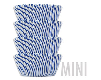 Mini Blue Candy Stripe Baking Cups - royal blue striped cupcake liners, cupcake papers