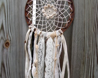 Wall Hanging/Dream Catcher with Crochet Doily on Rusted Metal