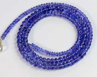 3.5MM-5.1MM Tanzanite Smooth Rondelle Bead 18 inch strand with silver clasp