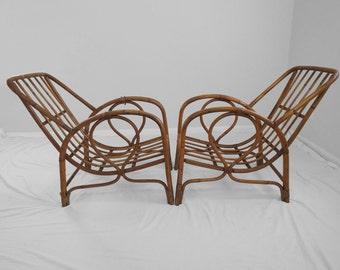 1930s italian Franco Albini style rattan lounge chairs FOR RESTORATION