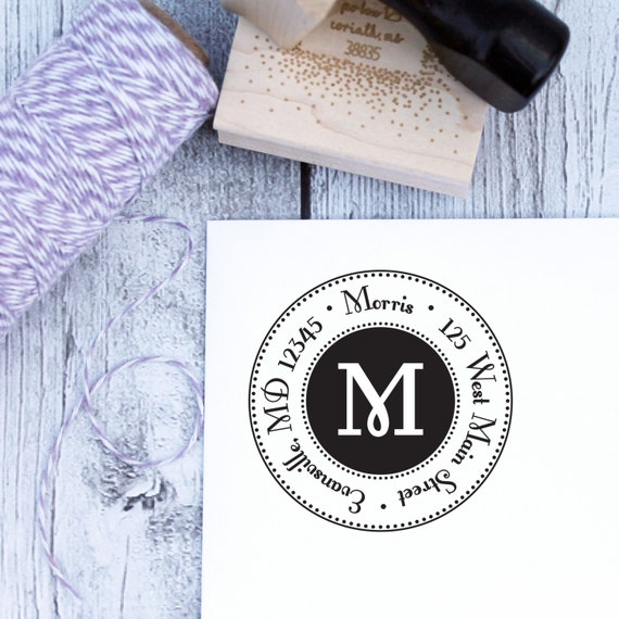 Personalized Address Stamp - Glam, Custom Address Stamp, Monogram Stamp, Rubber Stamp, Self Inking Stamp, Wooden Stamp, Housewarming Gift