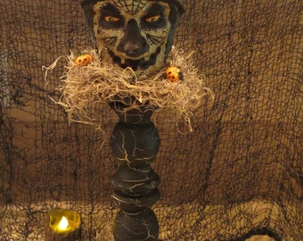 Paper mache Witch Head on Wood Base