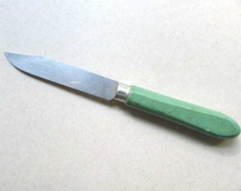Vintage 1940's Kitchen Paring Knife with Jade Green Wooden Handle, Small Kitchen Knife, Forties Green Handle, Kitchen Decor