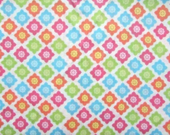 Cotton Fabric,  Small Flower in a Diamond Design Cotton Fabric, Quilts, Sewing, Candy Colors Palette