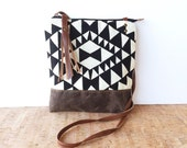 weekdayer - large • crossbody bag - geometric print • black and white geometric print - screenprint - iPad bag - gifts under 50 • vukani
