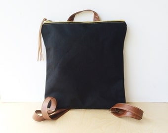 bucket backpack • black canvas zipper tote bag • black industrial canvas - black canvas backpack - brown leather  • scout
