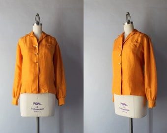 Vintage Silk Blouse / 1960s Raw Silk Pumpkin Blouse / Vintage 60s Button Down Blouse