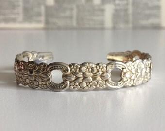 Vintage Silverplate floral cuff bracelet